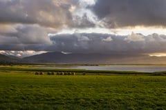 Sonnenuntergang am Berg Brandon und an der Lough-Kieme, Irland stockbild