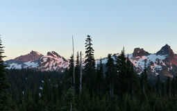 Sonnenuntergang, Berg Rainier National Park Stockfotos