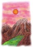 Sonnenuntergang-Berge (Zen Pictures II, 2012) Lizenzfreie Stockfotos