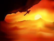 Sonnenuntergang-Bergsteiger vektor abbildung