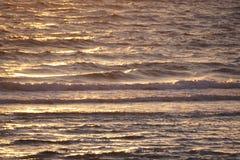 Sonnenuntergang bewegt am Strand wellenartig Stockbilder