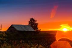 Sonnenuntergang-Blendenfleck Stockfotos