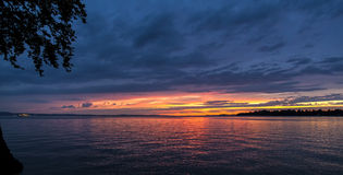 Sonnenuntergang in Bodensee Lizenzfreies Stockfoto