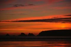 Sonnenuntergang in Bretagne Lizenzfreie Stockfotos