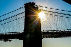 Sonnenuntergang Brooklyn-Brücken-New York USA stockfotografie