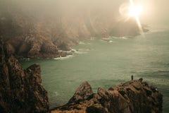 Sonnenuntergang Cabo DA Roca stockfotos
