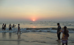 Sonnenuntergang, Calangute-Strand, Goa, Indien Stockfoto