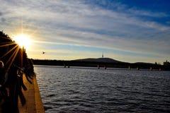 Sonnenuntergang in Canberra stockfoto