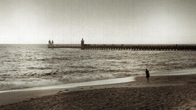 Sonnenuntergang an Capbreton Strand, antike Art Lizenzfreie Stockfotos