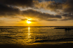 Sonnenuntergang - Cardiff-Strand - Kalifornien stockfotografie