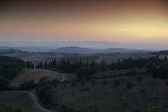 Sonnenuntergang in Chianti, Toskana Stockfotos