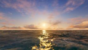 Sonnenuntergang in dem Ozean stock footage