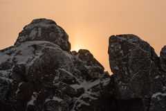 Sonnenuntergang in den Bergen Stockbilder