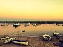 Sonnenuntergang in den Cabanas lizenzfreie stockfotografie