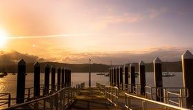 Sonnenuntergang an den Docks Stockfotografie