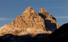 Sonnenuntergang in den Dolomit stockfotos