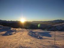 Sonnenuntergang in den französischen Alpen Stockfotografie