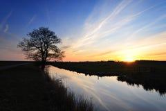 Sonnenuntergang in den Niederlanden Lizenzfreies Stockbild
