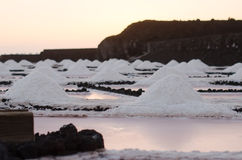 Sonnenuntergang in den Salzebenen von Fuencaliente Stockfoto