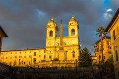 Sonnenuntergang in den Spanisch-Schritten in Rom Italien Stockfoto