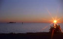 Sonnenuntergang in den Tasten Stockfoto