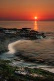 Sonnenuntergang in den warmen Farben. Stockfotos