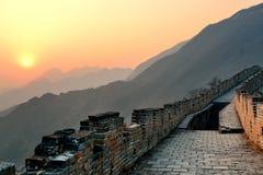 Sonnenuntergang der Chinesischen Mauer Lizenzfreie Stockfotos