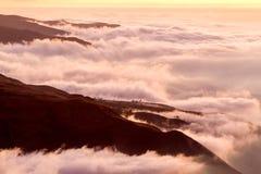 Sonnenuntergang an der großen Höhe Lizenzfreies Stockbild