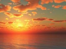 Sonnenuntergang der Illustration 3d über dem Meer Lizenzfreie Stockbilder