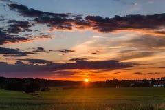 Sonnenuntergang in der Landschaft in der Tschechischen Republik Stockfoto