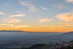 Sonnenuntergang in der Landseite von Spanien Stockfotografie