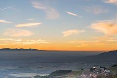 Sonnenuntergang in der Landseite von Spanien Lizenzfreies Stockfoto