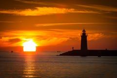 Sonnenuntergang, der Leuchtturm, Hafen Andratx, Mallorca, Spanien Stockfoto
