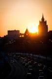 Sonnenuntergang in der Moskau-Stadt Stockfoto
