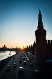 Sonnenuntergang in der Moskau-Stadt Stockbild