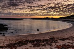 Sonnenuntergang an der Portfee, große Ozean-Straße, Victoria, Australien lizenzfreies stockbild