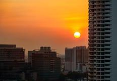 Sonnenuntergang an der Stadt Lizenzfreies Stockbild