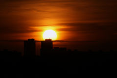 Sonnenuntergang in der Stadt Lizenzfreies Stockfoto