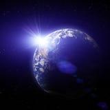 Sonnenuntergang des Erde-Planeten Lizenzfreies Stockbild