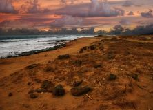 Sonnenuntergang des grünen Sandstrandes Lizenzfreies Stockfoto