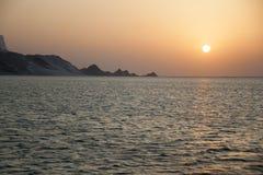 Sonnenuntergang an Detwah-Lagune lizenzfreies stockbild