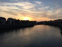 Sonnenuntergang in Deuville-Jachthafen Stockfoto