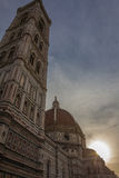 Sonnenuntergang in Doumo-Kathedrale in Florenz - Italien Lizenzfreie Stockfotografie