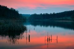 Sonnenuntergang durch den See stockfotos