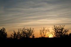 Sonnenuntergang in einem See Stockfotografie