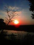 Sonnenuntergang an einer Landschaft von Chiang Rai Lizenzfreies Stockbild