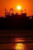 Sonnenuntergang am Essaouira Strand Stockfotografie