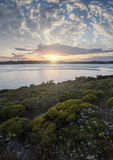 Sonnenuntergang f.m. Meer Arkivfoton