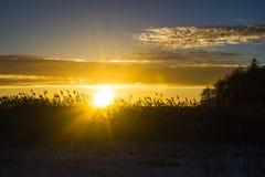 Sonnenuntergang am 14. Februar 2017 Lizenzfreie Stockbilder