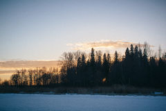 Sonnenuntergang am 14. Februar 2017 Stockfotos